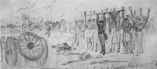 Sketch - enemy troops surrender at Sayler's Creek, VA