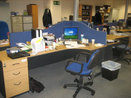 It is probably not the best idea to leave your desk like this - so tidy up!