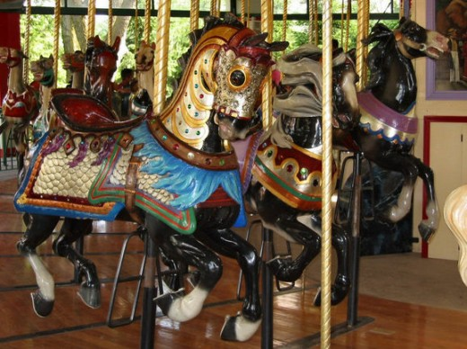 My favorite character, a black charger,  on the famous Illions-Mangels carousel at the old Columbus Zoo. First located at Olentangy Park in Clintonville not far from the end of the train line in the Short North (park is now an apartment complex)