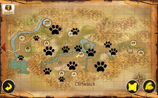 Each paw print represents areas where you are likely to farm Bronze Mineral Ore.