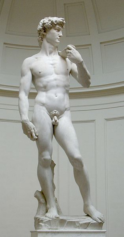 Michelangelo's David (original statue) http://en.wikipedia.org/wiki/File:David_von_Michelangelo.jpg