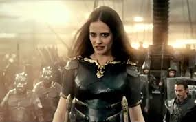Artemisia (Eva Green) leads an armed assault against the Greeks in retaliation for killing the Persian king in 300: Rise of an Empire