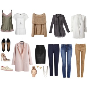 STYLED CAPSULE: Same idea as Basic, only with more flair.  French-inspired tee, sheer button-down, pink coat...great additions!  Notice that both capsules utilize the same jeans, sweater, and flats!