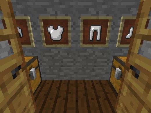 This closet has item frames with armor hanging on the wall, as well as two chests.