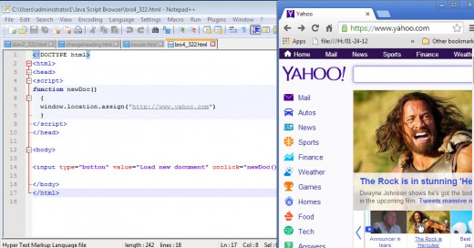 In this example, the location.assignment was made to the root of the yahoo web site.