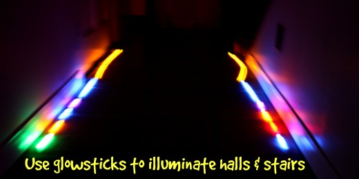 Line your hallways and staircases with glowsticks to provide safe lighting during earth hour.
