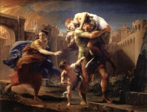 Aeneas Flees Troy with Anchises