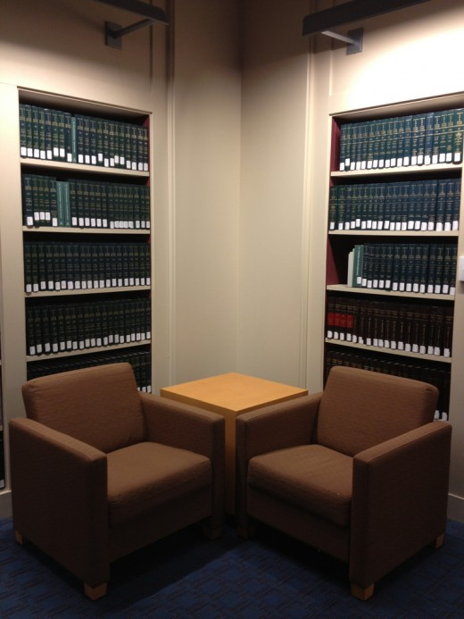 The Law library is a great place to research the law.