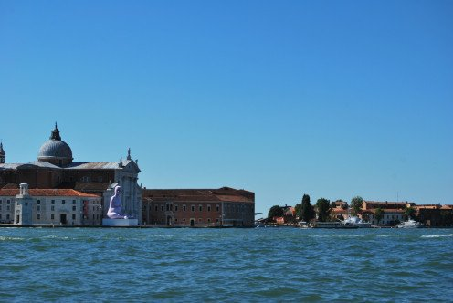 Passing church of san giorgio maggiore where a purple sculpture is situated outside. Source; my own photos.