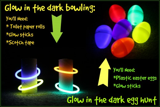 A little scotch tape, toilet paper rolls and some glow sticks can easily be transformed into a glow in the dark bowling game for kids. Glowsticks inside plastic easter eggs make for a fun night time treasure hunt.