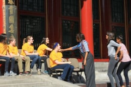Michelle with students in China.