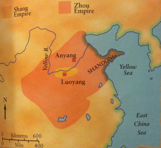 The map shows the territories of the Shang and Zhou dynasties. The Shang homeland was by the Yellow River, where its waters left the mountains to flow down on to a broad fertile plain. Here they built their main cities.