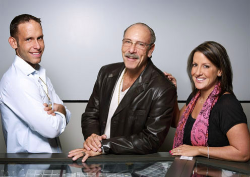 The owners of American Jewelry and Pawn, Detroit, Michigan, seen on Hardcore Pawn (from left) Seth Goldman, Les Goldman, and Ashley Goldman Broad
