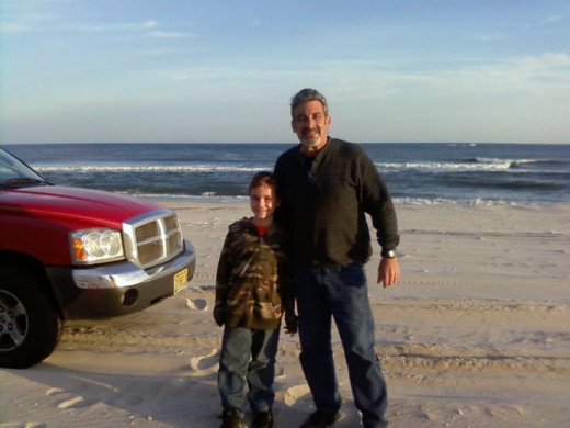 My Grandson and I cruising the beach in my truck. Good clean and sober fun!