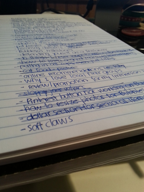 Brainstorming can be as simple as writing down a list of ideas for potential art projects.