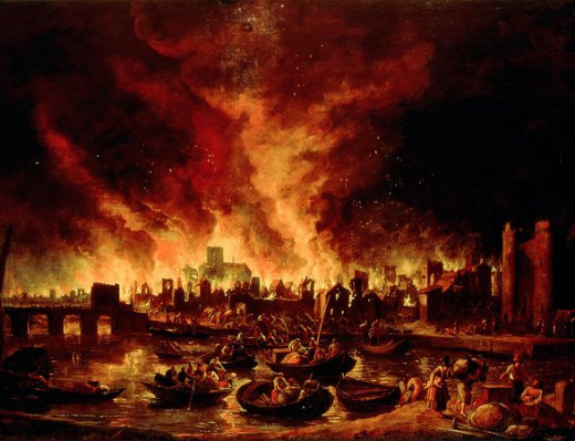 Many natural catastrophes will result in something like this depiction of a fire-storm. It can come from war, an Impact, an Earthquake or civil unrest.