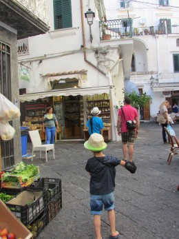Our son wanders the old streets of Amalfi
