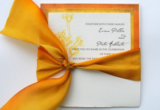 Infuse your color combinations in the wedding invites. Ribbons, beads and other stick-on embellishments can help bring out your wedding color theme