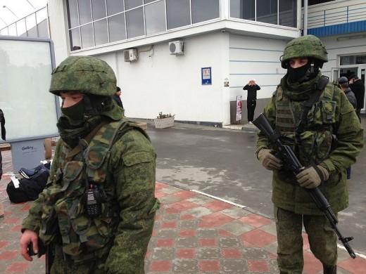 Unidentified military personnel on patrol at Simferopol Airport in Ukraine's Crimea peninsula, Feb. 28, 2014
