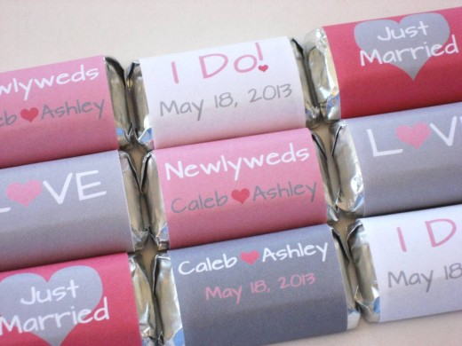 Cute pink and grey wedding favors