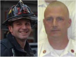 Boston Firefighter Michael Kennedy (L) and Lt. Edward Walsh