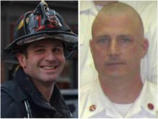 Boston Firefighter Michael Kennedy (L) and Lt. Edward Walsh