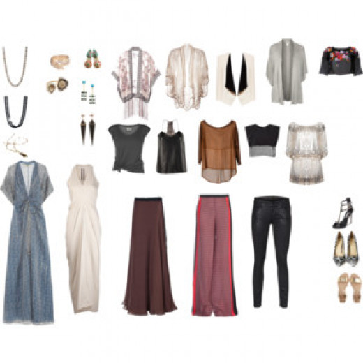 An example of options for bohemian evening wear, ranging from dress, to skirt, to pants.