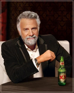 "Jonathan Goldsmith as ""The Most Interesting Man in the World"" in Dos Equis' successful advertising campaign. Here he's in his characteristic pose, and this picture is often used in Internet memes."