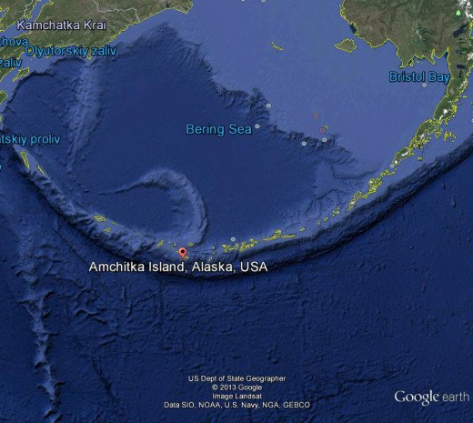 This is the Aleutian Island chain that arcs from Alaska to the former Soviet Union. A few atomic tests were done on Amchitka, the largest of which triggered an earthquake and gave birth to the Greenpeace movement.