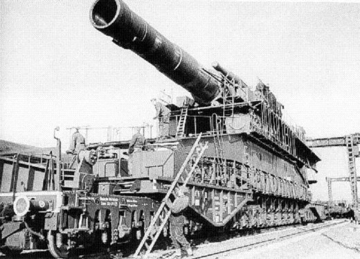 "The 80 cm Nazi super canon ""Dora"" was used during the 8 months battle of Sevastopol in 1942."