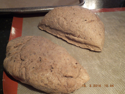 Split the dough in half and set one half aside. Cover the set aside dough with a tea towel to keep it from drying out.