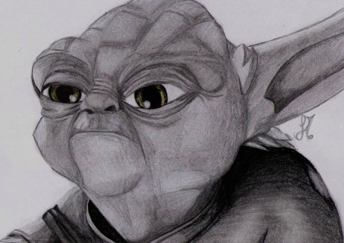 Yoda, the wise Jedi from Star Wars, in pencil.