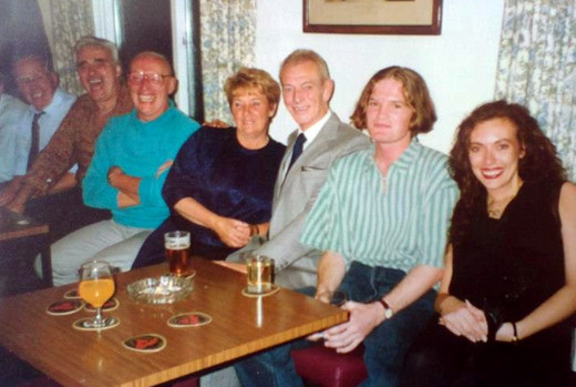 Dad's surprise 60th birthday party: Dad (in the turquoise shirt) is seated next to his youngest brother, Frankie. Also pictured is my mum, next to dad's old friend Alan; my cousin Jon and me on the end. It was one of the last gatherings of the clan.