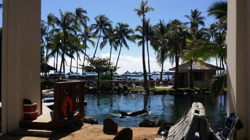 Looking out over the lagoon toward the beach at the Kahala Hotel and Resort in Honolulu