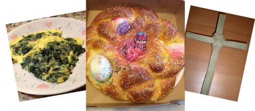 Easter Bread, Egg Frittata and Palm Cross