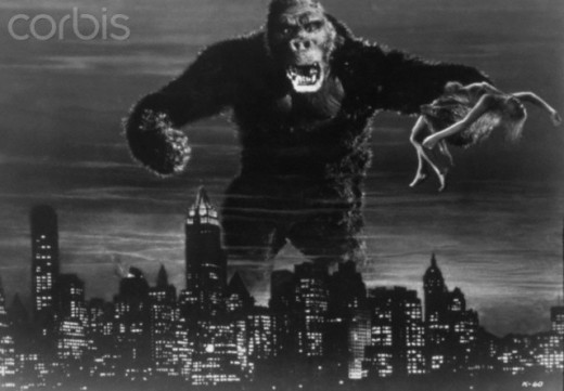 King Kong, the prime example how gorilla's were used for money fueling our mortal greed