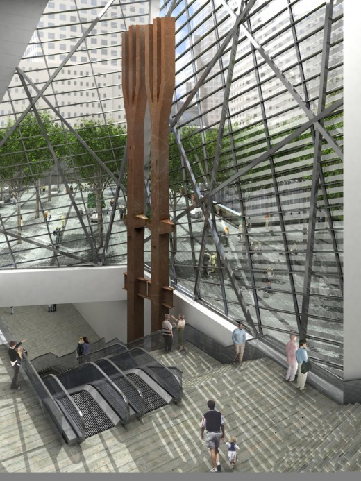 The tridents dominate the entrance to 9-11 Museum in this architect's rendering.
