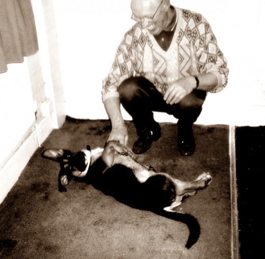 Dad with my rescue dog, Buster.