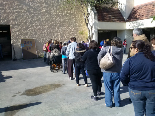 On a recent morning, several illegal aliens waiting in line for food, at a church in Ventura, California
