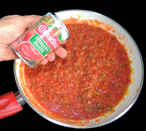 add tomato paste. mix well and set aside