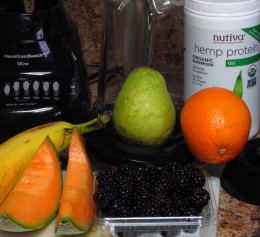 All the needed ingredients and tool for making my favorite smoothie recipe.