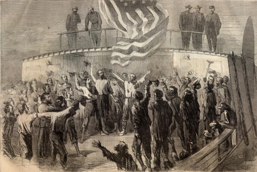 Sketch - exchanged Union troops celebrate aboard the boat that bears them back to their lines