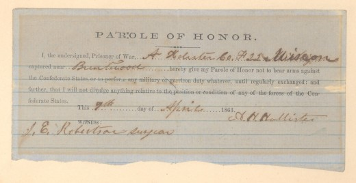 A Parole Certificate given to a Union prisoner; he will be freed when the Union has enough enemy prisoners to exchange for him and other parolees