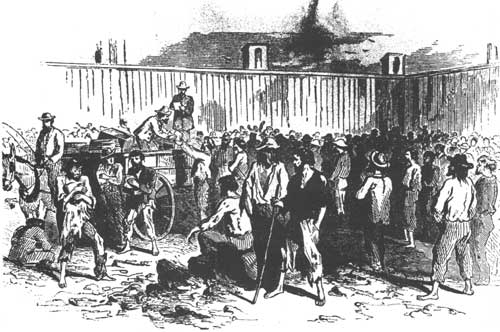 Sketch - delivery of rations to prisoners in Andersonville