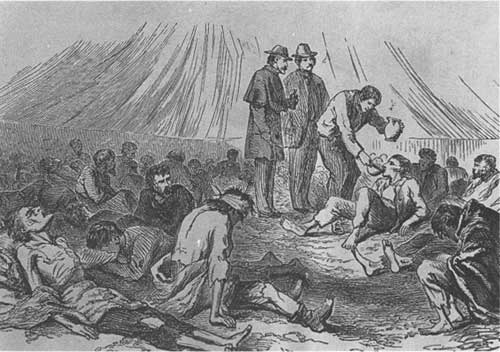 Sketch - interior of a hospital tent at Andersonville