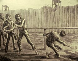 "Sketch - the result if a prisoner touched the ""Dead Line"" at Andersonville"