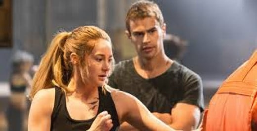 Shailene Woodley plays Tris and Theo James is Four in the action thriller Divergent