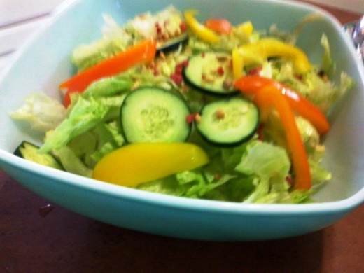 Salads created with fresh vegetables, nuts, and fruit make a great convenience food when stored in the refrigerator sans dressings.