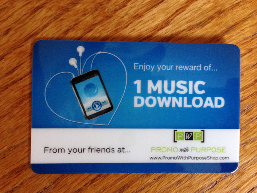 Promotional music download cards are an example of digital swag.