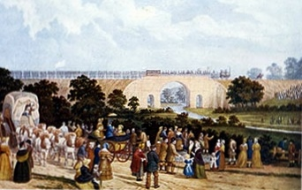 A Old painting.  The Opening of the D&SR.  Locomotive No. 1 passing over Skerne Bridge in Darlington